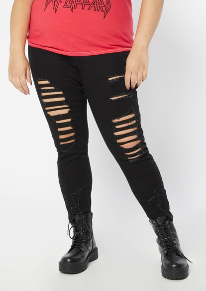 plus black super high rise exposed button distressed skinny jeans - Main Image