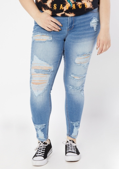 plus medium wash mid rise ultimate stretch destructed skinny jeans - Main Image
