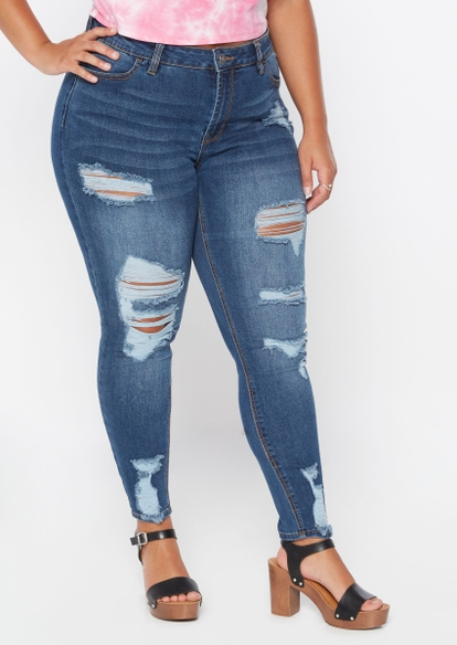 plus dark wash mid rise ultimate stretch destructed skinny jeans - Main Image
