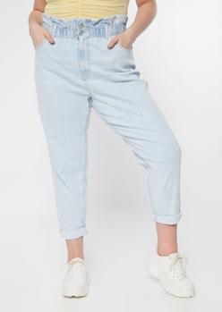 plus light wash rolled hem paperbag waist jeans - Main Image
