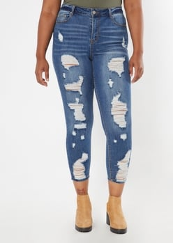 plus recycled dark wash high waisted ripped jeggings - Main Image