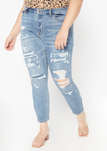 plus light wash high rise ripped curvy jeggings - Main Image