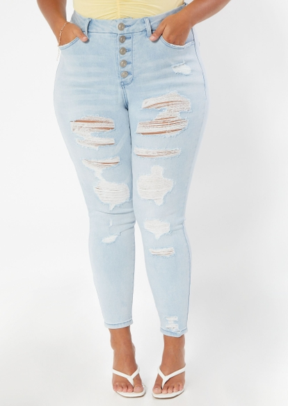 plus light wash high rise exposed button curvy destructed jeggings - Main Image