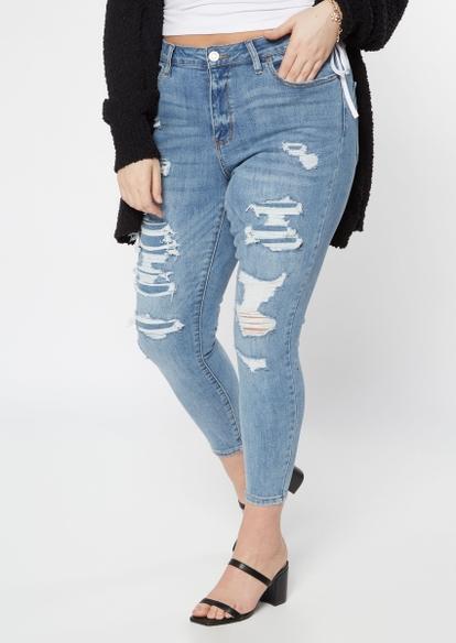 plus medium wash rip repair ultimate stretch skinny jeans - Main Image