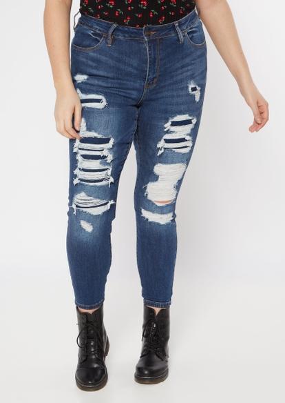 plus dark wash rip repair ultimate stretch skinny jeans - Main Image