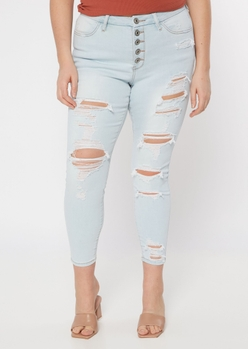 plus light wash 5 button ripped recycled jeggings - Main Image