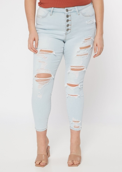 plus light wash 5 button ripped jeggings - Main Image