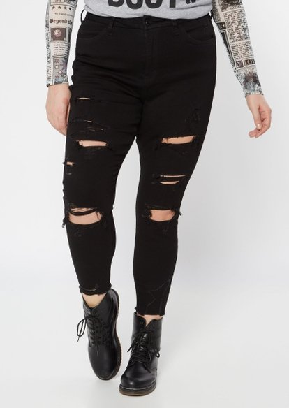 plus black destroyed ultimate stretch skinny jeans - Main Image