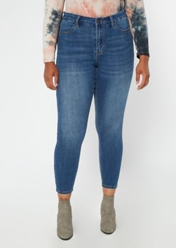 plus ultimate stretch dark wash high waisted curvy jeggings - Main Image
