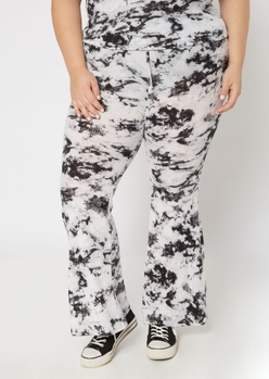 plus black tie dye soft ribbed flare pants - Main Image