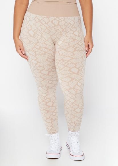plus neutral snake print seamless leggings - Main Image
