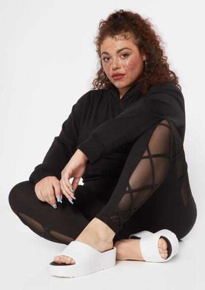 plus black crisscross mesh inset leggings - Main Image