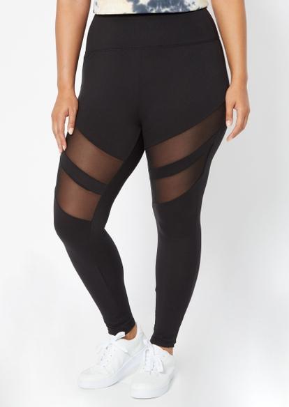 plus black mesh inset stripe leggings - Main Image