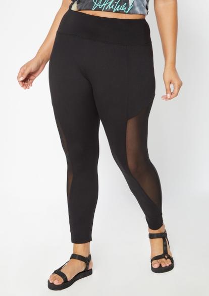 plus black mesh inset side stripe leggings - Main Image