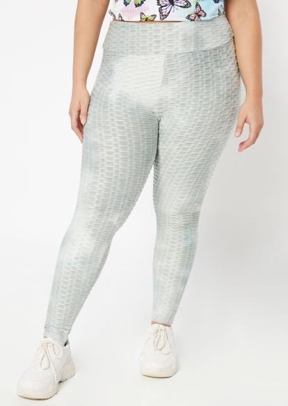 plus light gray tie dye honeycomb leggings - Main Image