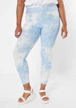 plus light blue tie dye honeycomb leggings - Main Image