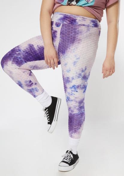 plus purple tie dye honeycomb leggings - Main Image