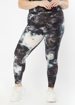plus black tie dye honeycomb crossover leggings - Main Image