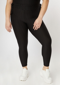 plus black honeycomb leggings - Main Image