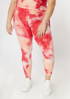 plus pink tie dye honeycomb leggings - Main Image