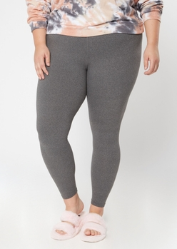 plus gray high waisted super soft leggings - Main Image
