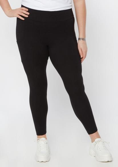 plus black super soft cell phone pocket leggings - Main Image