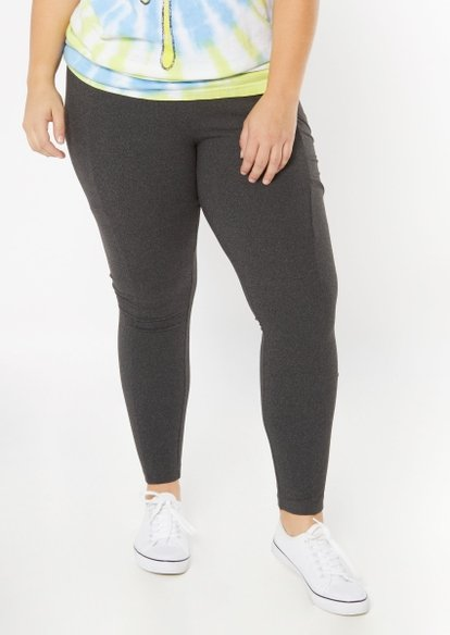 plus heather gray super soft cell phone pocket leggings - Main Image