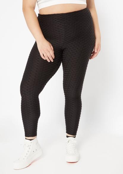 plus black ruched back honeycomb leggings - Main Image