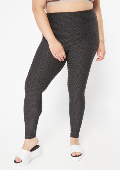 plus charcoal gray ruched back honeycomb leggings - Main Image