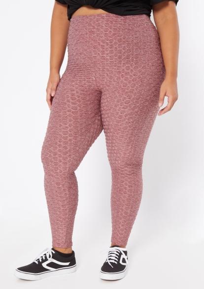 plus burgundy marled ruched back honeycomb leggings - Main Image