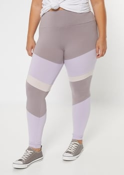 plus lavender high waisted colorblock leggings - Main Image