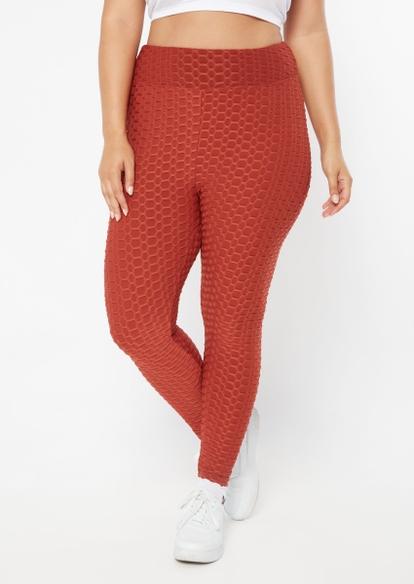 plus burnt orange ruched back honeycomb leggings - Main Image