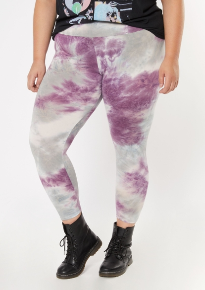 plus lavender tie dye super soft leggings - Main Image