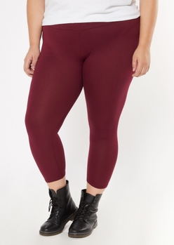 plus burgundy super soft leggings - Main Image