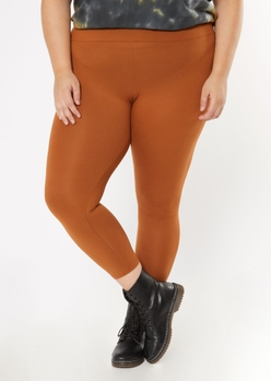 plus cognac super soft leggings - Main Image