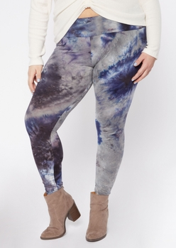 plus navy blue tie dye super soft leggings - Main Image