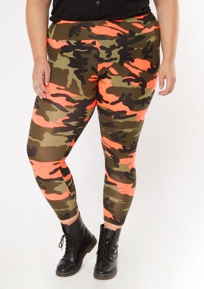 plus pink camo print super soft leggings - Main Image