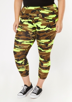 plus lime green camo print super soft leggings - Main Image