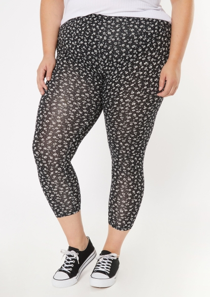 plus black ditsy floral print super soft leggings - Main Image