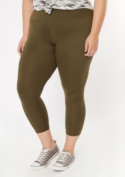 plus olive super soft leggings - Main Image