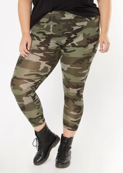 plus camo print super soft leggings - Main Image