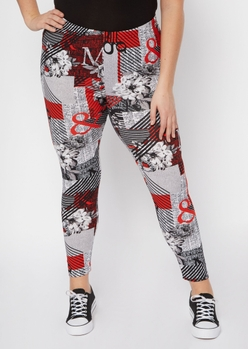 plus red newspaper print super soft leggings - Main Image
