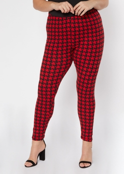 plus red houndstooth print super soft leggings - Main Image