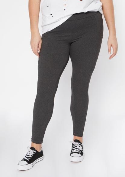 plus gray super soft cell phone pocket leggings - Main Image