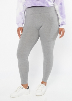 plus heather gray super soft cell phone pocket leggings - Main Image