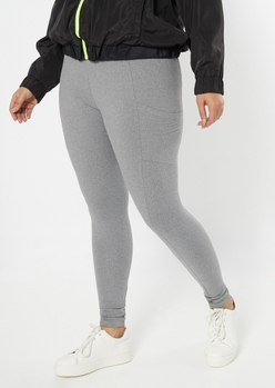 plus gray cell phone pocket super soft leggings - Main Image