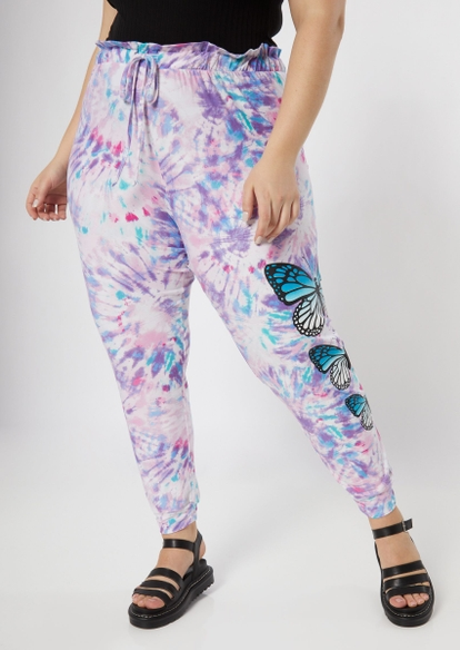 plus purple tie dye butterfly joggers - Main Image