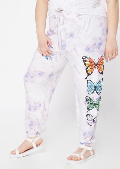 plus purple tie dye butterfly graphic joggers - Main Image