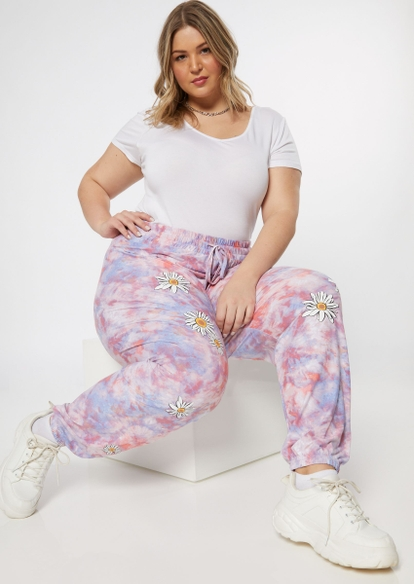 plus purple tie dye daisy graphic joggers - Main Image