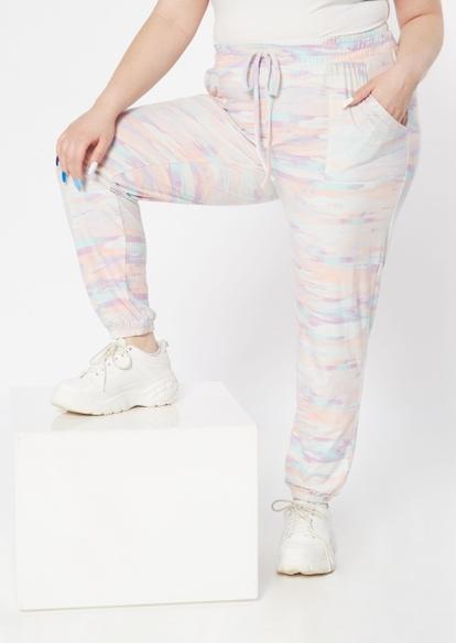 plus pastel paint stroke tie dye joggers - Main Image